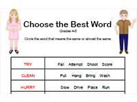 choose the best word synonym worksheet