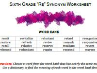 re synonyms worksheet