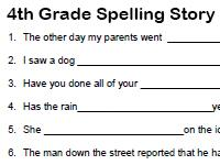 fourth grade spelling story activity