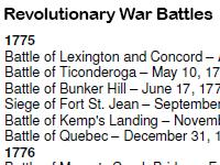 list of Revolutionary war battles