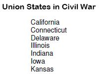 union states in civil war list