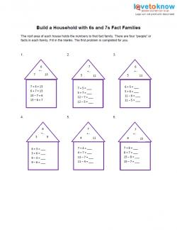 6s and 7s fact family worksheet