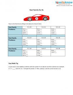 9s fact family worksheet