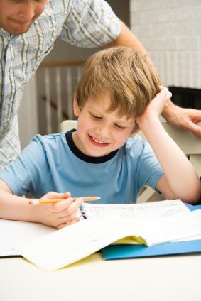 Boy working on homework