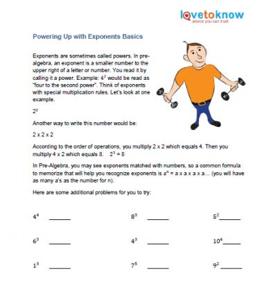 printable for exponents pre-algebra