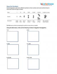 Heiroglyphic Numbers Worksheet