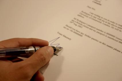 Signing business letter