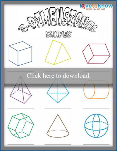 Worksheet For Identifying 3 Dimensional Shapes Lovetoknow