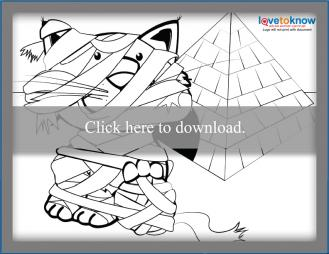 Mummy Cat Coloring Page Thumbnail