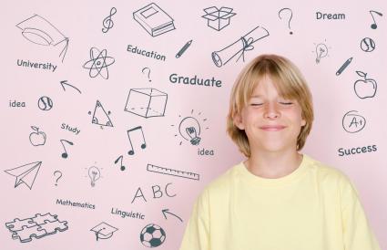teenage boy with eyes closed
