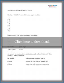 French Numbers Worksheet
