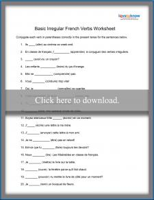 Irregular French Verb Worksheet