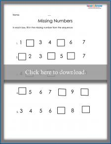1 to 10 Missing Number Order Worksheet