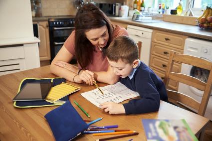 Reading homework words with mummy