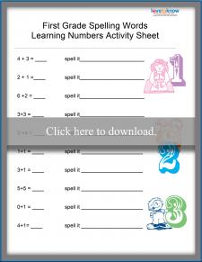Number Spelling Worksheet