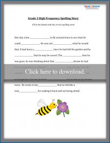 Third Grade Spelling Story Worksheet