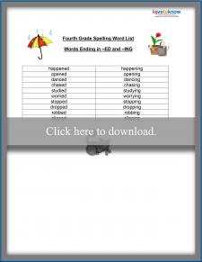 Fourth Grade Spelling Word List
