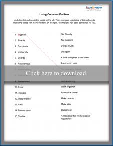 Common Prefix Worksheet