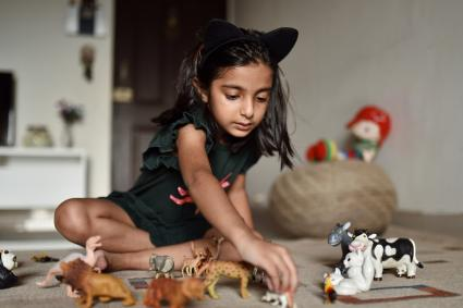 girl lining up animal toys