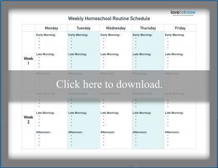 Weekly Homeschool Routine Schedule Template