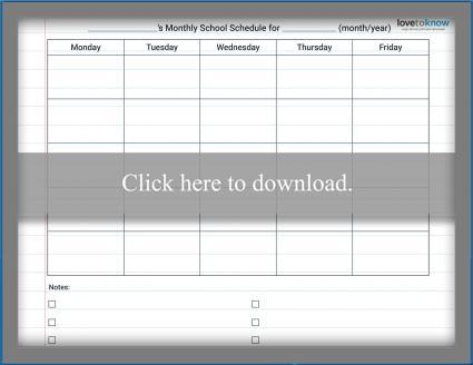 Homeschool Monthly Schedule