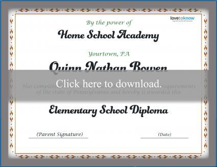 Elementary Homeschool Diploma Template