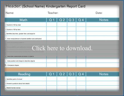 Traditional Kindergarten Report Card