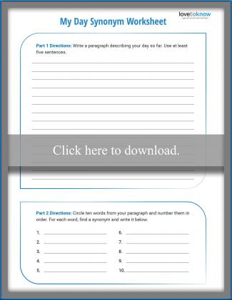 Fifth Grade Synonym Worksheet