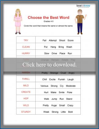 Fourth Grade Synonym Worksheet