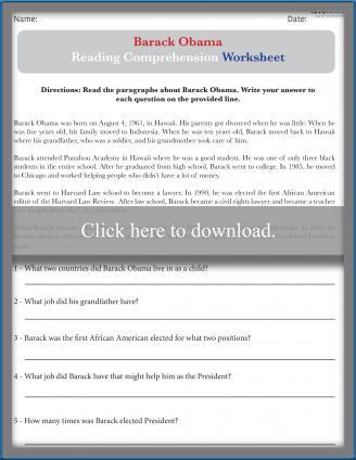 Barack Obama Reading Comprehension Worksheet