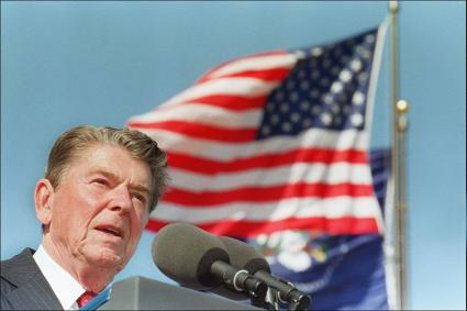 US President Ronald Reagan giving a speech