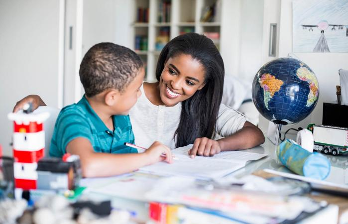 Mother and Young Son in class
