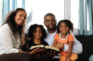 A Christian family reading