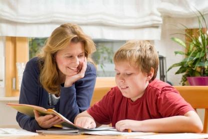 mom and son studying
