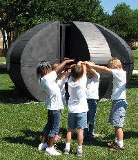 students in a sculpture gallery showing arts educations for homeschoolers
