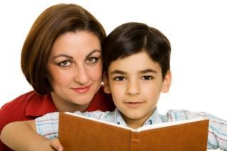 Mom homeschooling her son