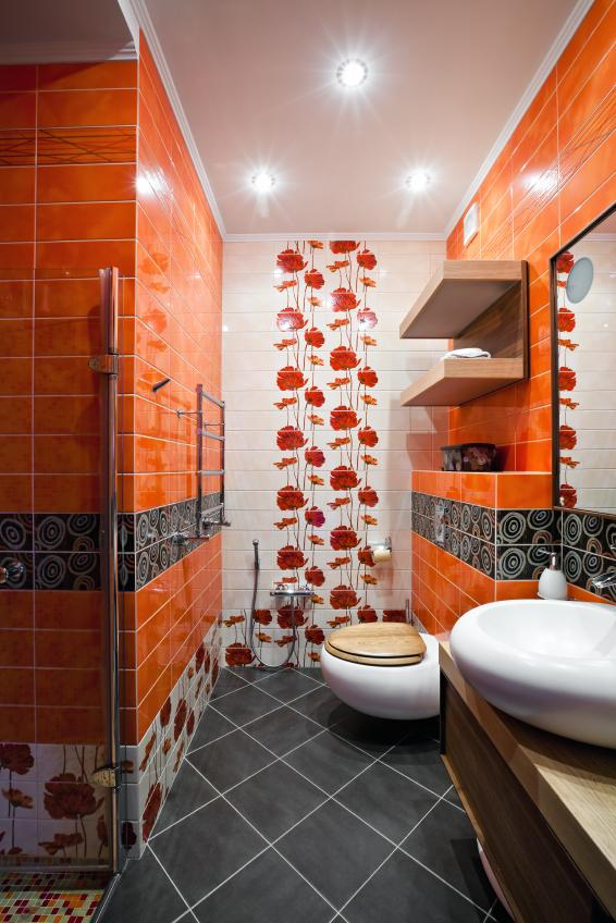 Orange Patterned Bathroom