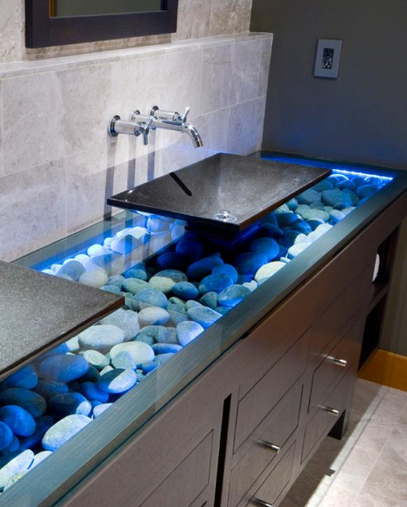 Bathroom vanity lighting ideas lovetoknow stone vanity aloadofball Choice Image