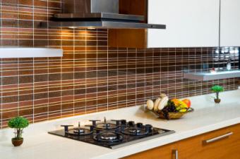 layered tile backsplash