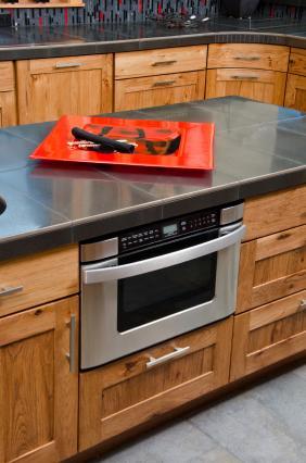 Honed black granite tile counter