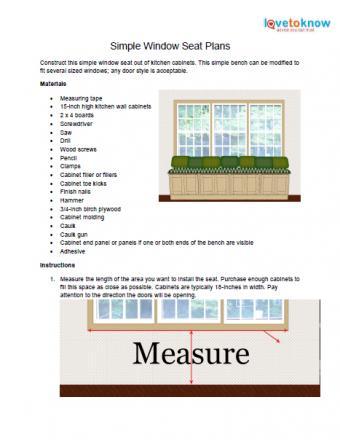 Simple window seat plans
