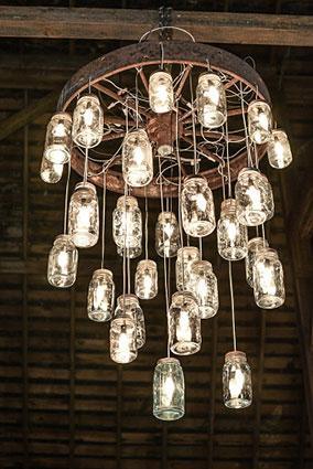 Rustic mason jar chandelier