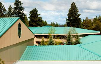Green ribbed metal roof