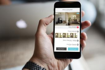 Phone alert screen for abode home security system