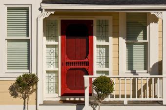 Red Decorative Storm Door