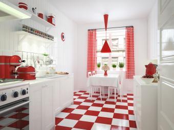 Red and white domestic kitchen interior