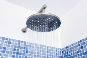 Shower stall with mosaic tile