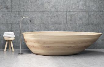 Wooden tub in modern bathtub