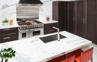 Marble countertop in modern kitchen