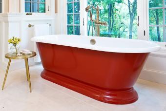 Contemporary Bathroom with a cast iron bathtub
